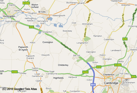 Map of the area Huntingdon/StIves/Cambridge