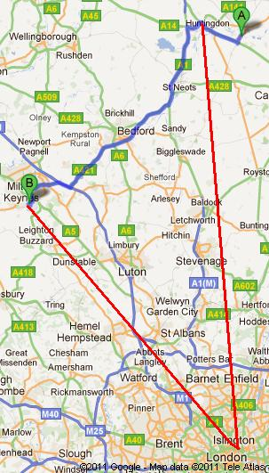 Car route (blue) and illustrative train route (red) between St.Ives/Huntingdon and Bletchley Park